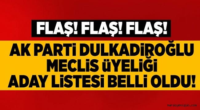 AK PARTİ'NİN DULKADİROĞLU BELEDİYE MECLİS ÜYELERİ LİSTESİ BELLİ OLDU!