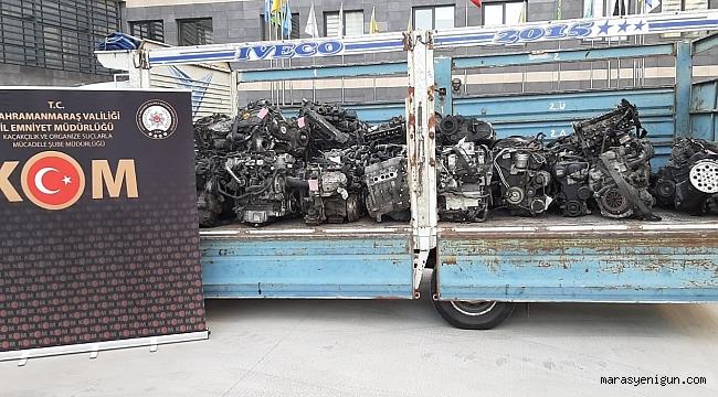Kahramanmaraş'ta 40 Adet Kaçak Otomobil Motoru Ele Geçirildi