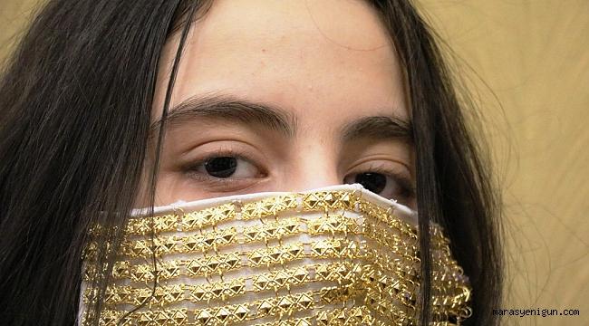 Gelinlere Altın İşlemeli Maske