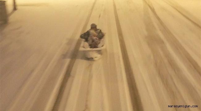 Kahramanmaraş'ta Karda Küvetli Kızak Keyfi