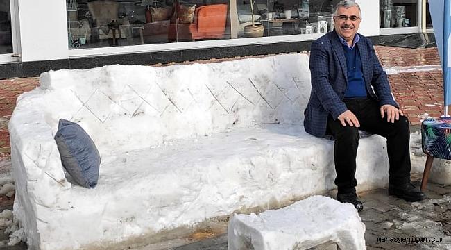 Kahramanmaraş'ta Kardan Kanepe Yaptılar