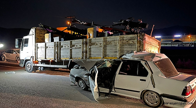 Kamyona Arkadan Çarpan Otomobil Sürücüsü Yaralandı